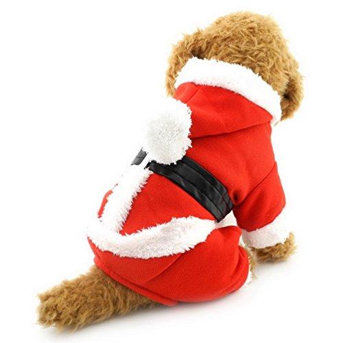 Smalllee Lucky Ranger pour Animal Domestique Chat Chien Vêtements de Noël Costume de Père Noël en Velours à Capuche Manteau Jumpsuit Petit Chien Vêtements M