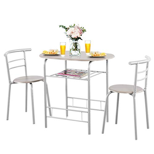 Giantex 3 Piece Dining Set Compact 2 Chairs and Table Set with Metal Frame and Shelf Storage Bistro Pub Breakfast Space Saving for Apartment and Kitchen (Silver & Natural)
