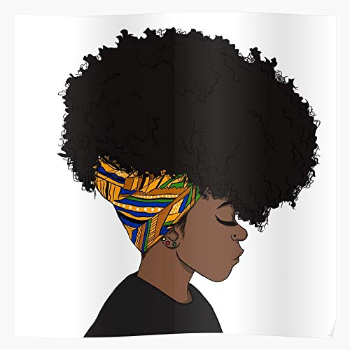 Magic Girl African Character Watercolour Watercolor Black American Afro Design Back I Fsgteam- Wall Decor Art Print Poster