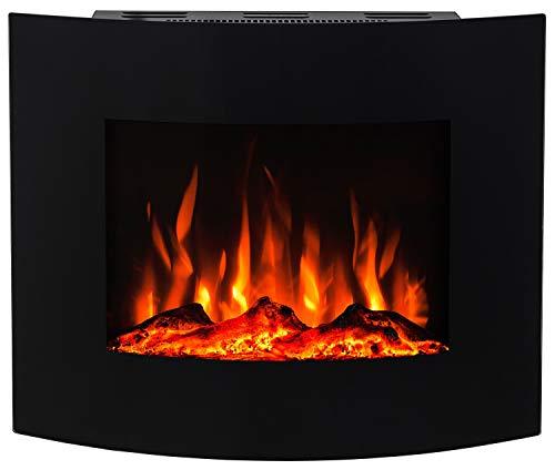 Noble Flame Madison – gewölbter Elektrokamin Wand- / Standkamin – inkl. Elektroeinsatz mit Heizfunktion – individuelles Feuerambiente - schwarz