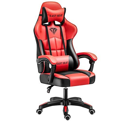 Gaming-Stuhl, Computerstuhl, Heimstuhl, E-Game-Stuhl, Bürostuhl, ergonomischer Lederstuhl (rot, N)