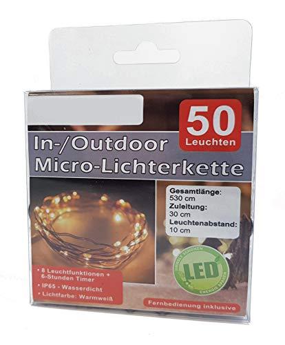Chaîne micro lampes LED avec télécommande et minuterie - 50 LED blanches chaudes - Chaîne légère à batterie alimentée par fil - Pour intérieur et extérieur