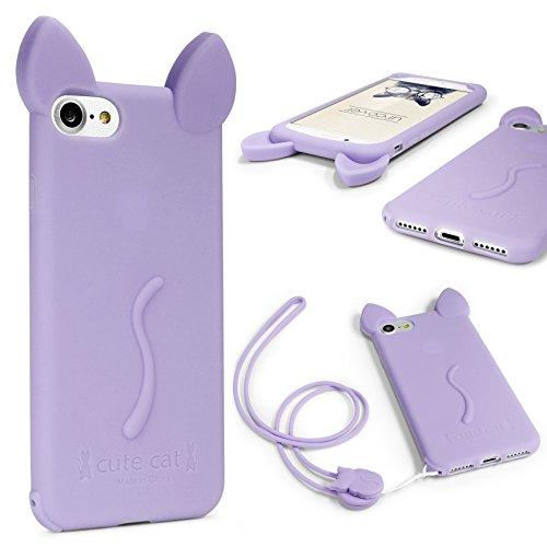 Urcover Funda iPhone 7 Plus Funda Orejas de Gato para Mujer/Niña Carcasa Silicona Flexible Gato Kitty Cat Apple iPhone 7 Plus + Cuerda para Colgar Seguridad para Móvil Smartphone Púrpura