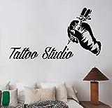 Artista del tatuaje Máquina de tatuaje Maestro Mano Salón Estudio Servicio Logotipo Signo Vinilo Etiqueta de la pared Calcomanía Dormitorio Sala de estar Club Oficina Decoración para el hogar Mur