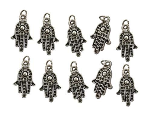 Eurofusioni Hand der Fatima Anhänger - Versilberte Charms Hamsa, Chamsa, Khamsa - Amulett glücksbringer für DIY-Dekorationen: Gefälligkeiten, Modeschmuck, Armbänder und Ohrringe - h 1,5 cm - 10 Stück