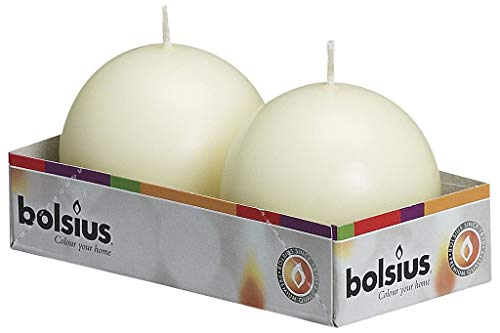 Bolsius Set of 2 Ivory Ball Candles - 2.75 inch Unscented Candle Set - Dripless Clean Burning Smokeless Dinner Candle - Perfect for Wedding Candles, Parties and Special Occasions