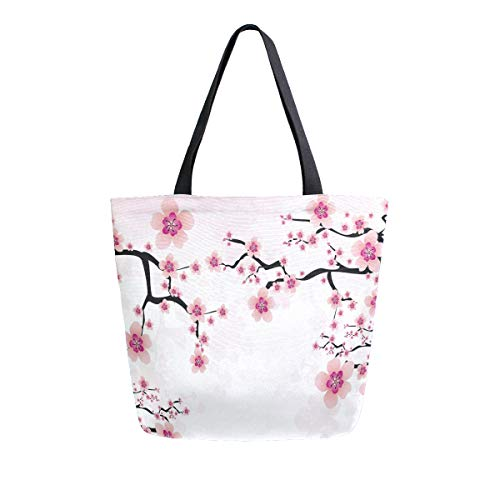 Naanle Floral Flower Canvas Tote Bag Large Women Casual Shoulder Bag Handbag, Japanese Cherry Blossom Reusable Multipurpose Heavy Duty Shopping Grocery Cotton Bag for Outdoors.