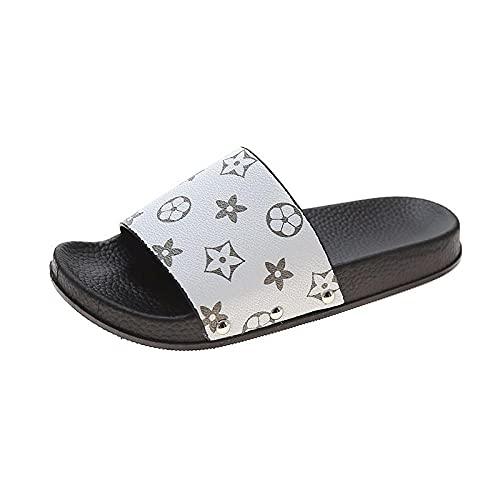 MDCGL Zapatos De BañO Sandalias Planas Ligeras Antideslizantes de los Hombres de Las Mujeres, Chanclas Suaves de la casa Zapatos para el baño del jardín Interior Blanco EU38
