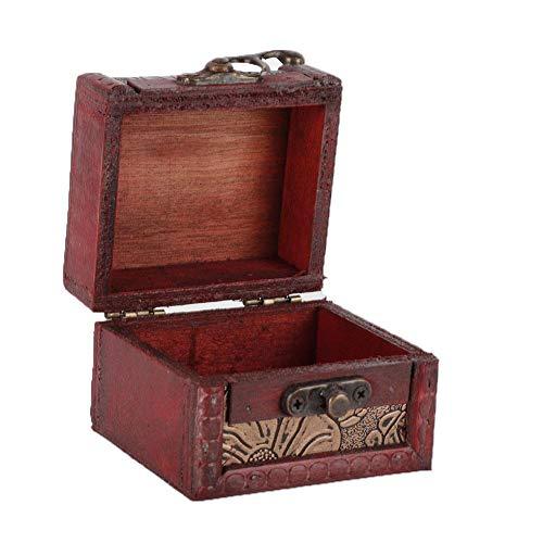 Retro Mini Caja Cuadrada Pura Madera Hecha A Mano Caja de Almacenamiento de Caramelo Contenedor Anillo Pendientes Titular de Almacenamiento(Loto 6015A)