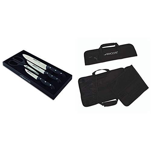 Arcos Maitre - Set de 3 cuchillos y tijera (4piezas) + 690200 - Bolsa con 4 compartimentos para cuchillos