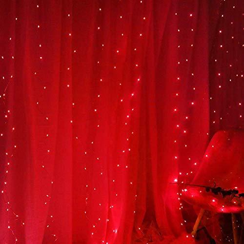 Curtain Wire Lights, Window Curtain Fairy String Lights 300LEDs, 3M & Times; 3M 8 Modi USB Vorhangleuchten mit Fernbedienung Partydekoration im Innen- und Außenbereich, modern