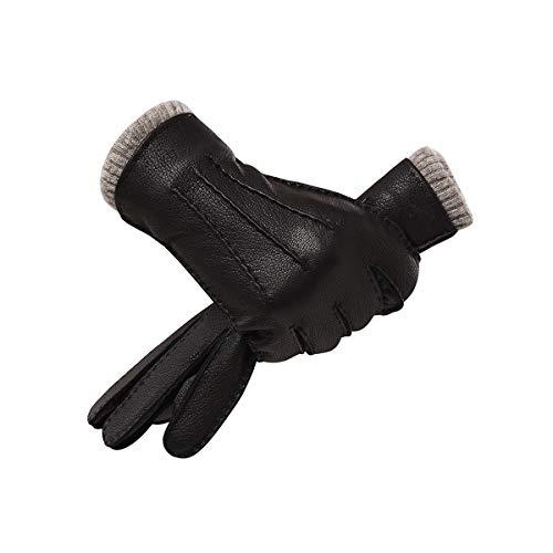 HND Guantes de cuero de los hombres de cuero de invierno a prueba de viento, además de terciopelo espesado a caballo de conducción de la motocicleta caliente del invierno guantes impermeables