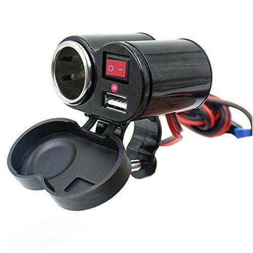 D72C 2IN1 Wasserdicht Motorrad Zigarettenanzünder USB Steckdose Ladegerät 5V1,5A Einbau 1,2m Kabel