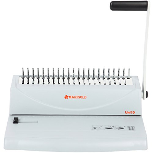Marigold 19-Hole Letter Size Comb Ring Binding Machine Paper Punch Book Binder with Starter Kit - 100 1/4