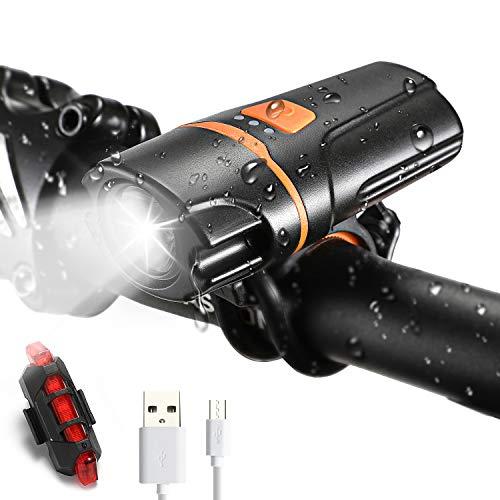 VICKSONGS IPX6 Luci Bicicletta LED Anteriore e Posteriore Ricaricabili USB, [7 Modalità/350 Lumen/10 Ore], Luci Bici per la Giro Notturna, Ricarica Rapida e Installazione Semplice