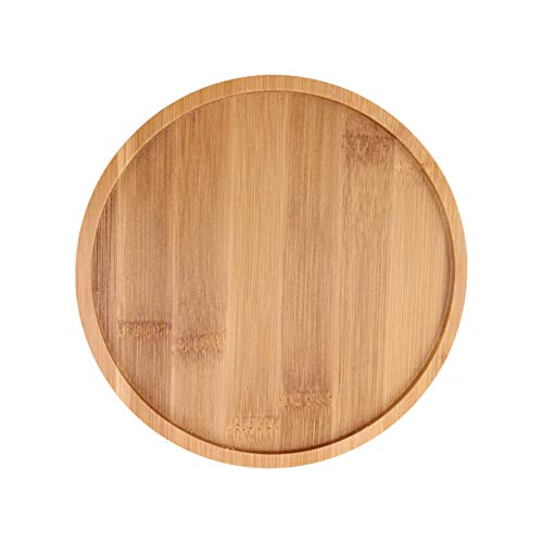 JIESD-Z 2Pack Bamboo Plant Saucers, Round Planter Pot Saucers, Durable Indoor Outdoor Succulent Cactus Flower Pot Tray, Dinner Plates Coaster for Home, Office