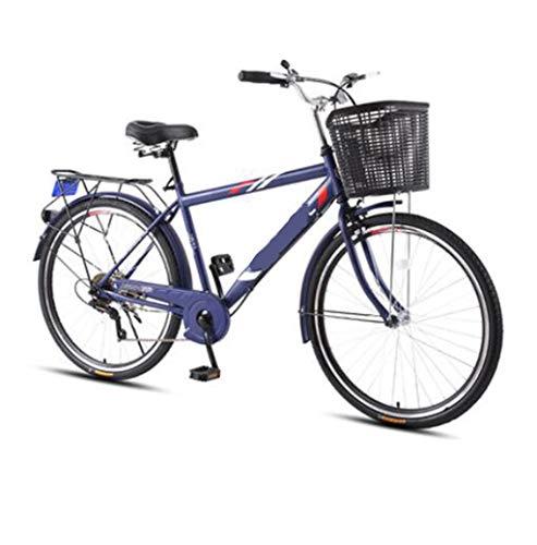CHERRIESU 26 Pulgadas de una Sola suspensión Crucero Bicicleta 7 velocidades Marco de Acero liviano Bicicleta con Cesta para Hombres Adultos de Viaje Retro Bicicleta Playa Crucero Bicicleta,Azul