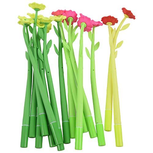 Gesh 15 bolígrafos de gel con forma de flor de 0,38 mm.