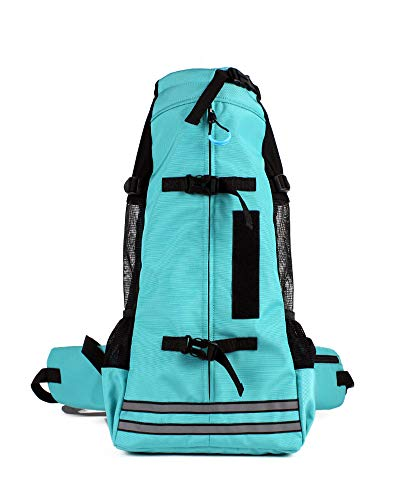 RC GearPro Mochila portadora de perros, mochila portadora de mascotas ajustable Bolsa de viaje Mochila mascota Patas hacia fuera(M (23x12x49cm), lago azul)
