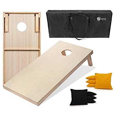 Tailgating Pros 4'x2' Cornhole Boards w/Carrying Case & set of 8 Cornhole Bags (YOU PICK COLOR) 25 Bag Colors! (Black/Yellow, 4'x2' Boards)