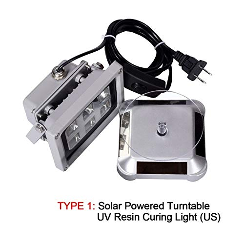 20203D Printer Accessories 405nm UV LED Resin Curing Light Lamp Solar Power Turntable 360 Degree For SLA DLP Adapter US Plug 3D Printer Parts Accessories WScheng (Color : Type1)
