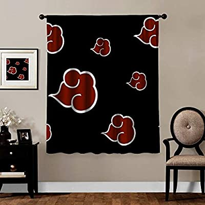 Blackout Curtains,Naruto Akatsuki Logo Fire Cloud, Rod Pocket Thermal Insulated Darkening Window Drapes for Kids Bedroom, Cute Anime Animal Boys Girls Room Décor, 1 Panels,63x63 inch