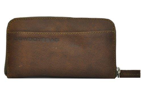 Cowboysbag The Purse 1304 Portemonnaie, Leder Geldbörse mit besonders viel Platz, Grau/Braun, 20x11x2,5 cm (B x H x T)