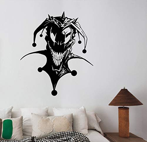 Creepy Jester Vinyl Decal Evil Clown Sticker Sinister Demonic Circus Halloween Wall Vinyl Art Best Decorations for Home Room Bedroom Horror Decor Made in USA Fast Delivery