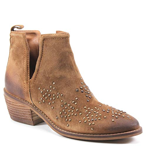 Diba True Other Wise Star-Studded Suede Bootie, Whiskey, Size 10.0