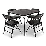 EventStable Titan Series Folding Card Table and Black Vinyl Metal Folding Chair Set - 5 Pieces (Black Vinyl)