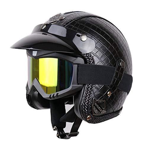 Stella Fella Cascos hombres enmascarados verano hecho a mano retro casco de motocicleta casco de cara completa masculino y femenino Harley motocicleta casco cuero negro a prueba de viento impermeable