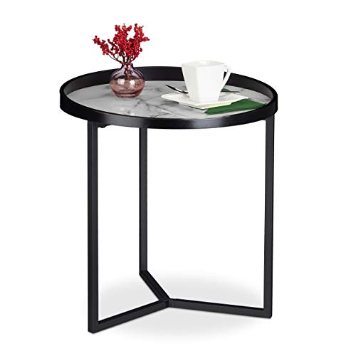 Relaxdays Bijzettafel, retro design, voor woonkamer, rond tafelblad in marmer-look, HxD: 50 x 46 cm, zwart-wit, 1 stuk