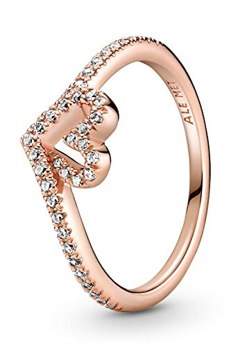 Pandora Wish Wishbone - Anillo de plata de ley bañada en oro rosa de 14 quilates, talla del anillo: 58
