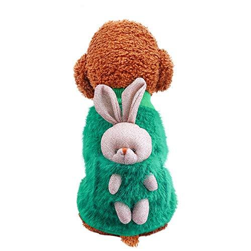 MZGN Mascota Perro Gato Otoño E Invierno Bolsillo Felpa Cálida Ropa para Perros Disfraz De Gato Espalda Conejito Camisa De Cuello Redondo De Dos Piernas M