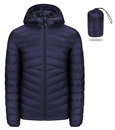 CAMEL CROWN Men's Packable Down Jacket Hooded Lightweight Puffer Insulated Coat for Travel Outdoor Hiking Dark Blue