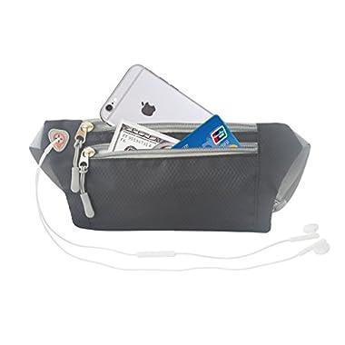 Running Hiking Lightweight Waterproof Waist Bags Fanny Pack Bum Belt Bag Pouch Travel Hip Purse Black for Mens (Black)