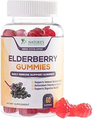 Elderberry Gummies Extra Strength Sambucus Black Elderberry Extract Gummy - Natural Immune Support Supplement with Zinc and C for Children & Adults - 60 Gummies