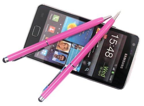2x PINK tomaxx kapazitiver Stylus Pen - Eingabestift mit Kugelschreiber für kompatibel für Sony Xperia Z2 Tablet, Sony Xperia Z2, Samsung Galaxy S5, Samsung Galaxy Note Pro P905, P900, Samsung Galaxy Tab PRO, ZTE Nubia Z5S, Samsung Galaxy Core LTE, Samsung GALAXY Core Plus, Alcatel One Touch Idol Alpha, LG L40, LG L70, LG L90, Wiko Highway, LG G Pro 2, Samsung Galaxy Note 3 Neo LTE+, HTC Desire 310, doro Primo 571, Allview A5 Quad