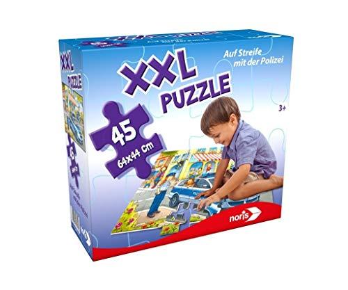 Noris 606031792 XXL Riesenpuzzle Auf Streife mit der Polizei mit 45 Teilen (Gesamtgröße: 64 x 44 cm) - für Kinder ab 3 Jahren