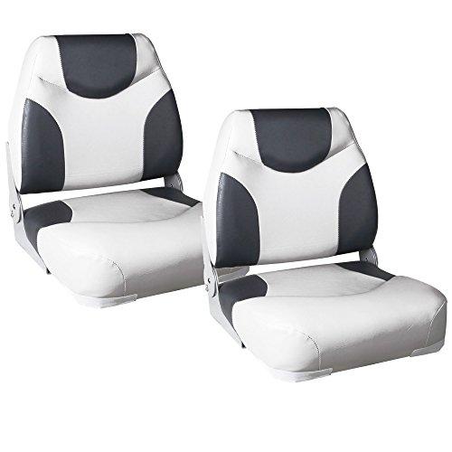 [pro.tec] 2X Bootssitze 'Exclusive - Line' (grau- Weiss) im Sparpaket - aus wasserfestem Kunstleder/Steuerstuhl/wasserfest/gepolstert/Kapitänsstuhl/Angelsitz/UV- beständig