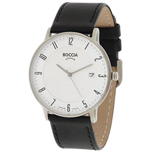 Boccia Herren Digital Quarz Uhr mit Leder Armband 3607-02