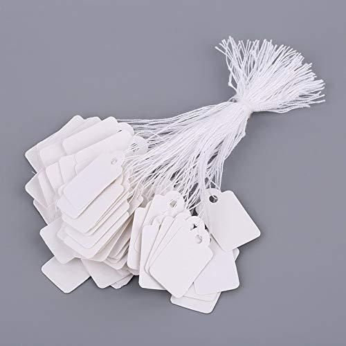 Pudincoco Rectangular Blank White 925 Silver Price Tag 100 piezas con cadena Joyería Etiqueta Promoción Tienda Accesorios (blanco)