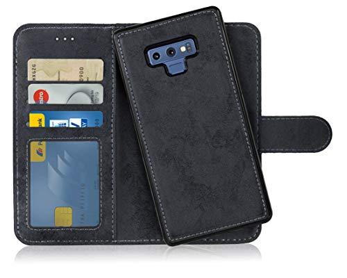 MyGadget Flip Case mit Back Cover [2 in 1] Hülle Samsung Galaxy Note 9 - Magnetische PU Leder Klapphülle mit Kartenfach Schutzhülle Wallet - Schwarz