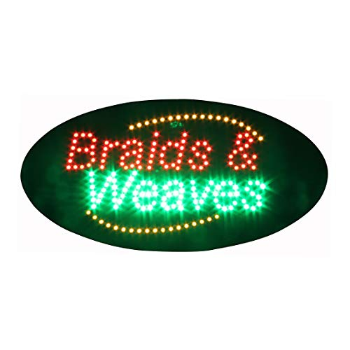 Braids and Weaves Sign for Business Super Bright Electric Advertising Display Board for Hair Braiding Hair Salon Hair Extension Technician Business Shop Store Window Decor 19 x 10