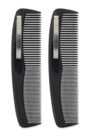 "2 Black Pocket Comb - 5"" Long Regular & Fine Teeth With Pocket Clip"