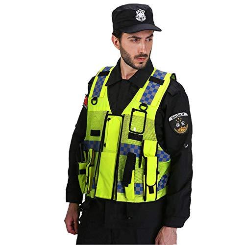Vest reflecterende veiligheid hoge zichtbaarheid verkeer politie reflecterende vest met meerdere zakken Eén maat Geel
