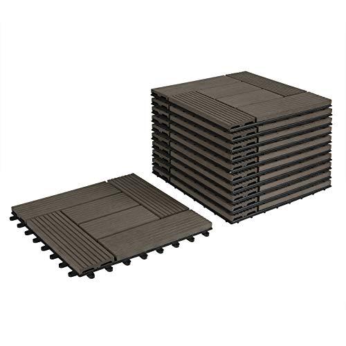 Lestarain Bodenfliesen Balkonfliesen Holzoptik, Terrassenfliesen WPC, Wetterfest, Holzfliesen balkon 30x30cm, 44 Stücke für 4m²