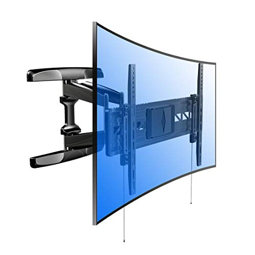 """Loctek 18.8"""" Long Extension Curved TV Wall Mount Bracket for 32-70 inch Both Curved and Flat Panel TVs with VESA Patterns up to 600 x 400mm/Articulating Arm Swivel Tilt Max. Fits 16 inch Wall Stud black"""
