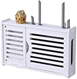 Caja de almacenamiento Router Montado en la pared del router inalámbrico Caja de almacenamiento creativa de la sala Wifi decorativo Oclusión de la caja blanca de madera de plástico Junta flotante esta