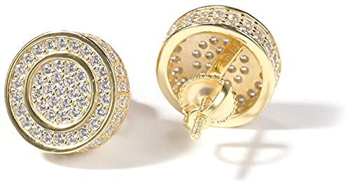 Hip Hop - Pendientes de plata 925 con círculo concéntrico para hombres y mujeres, dorado, Taille unique